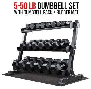 Rep Fitness Dumbbell Sets with Rack